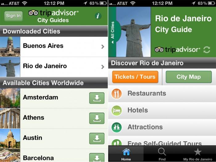 TripAdvisor City Guides, передвижения и карты местности