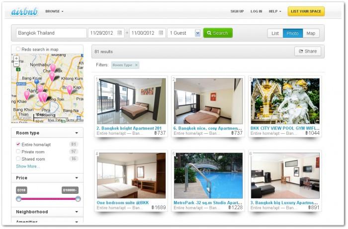 Airbnb, поиск жилья